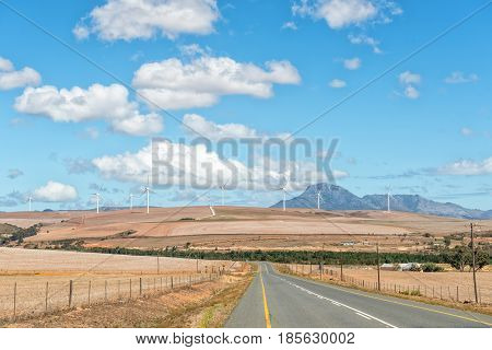 A view of the road from Genadendal to Caledon with a wind-farm in the distance near Caledon