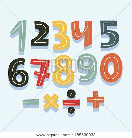 Vector cartoon hand drawn cute number set for game aor birthdaay card. division signs, multiplication, subtraction, addition.