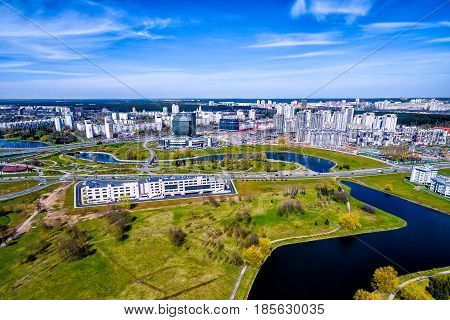 Aerial view, cityscape of Minsk, Belarus. District of the national library, parks and cannels, Top view from the drone