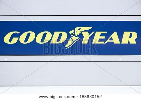 Macon, France - June 28, 2016: Goodyear logo on a wall. Goodyear is an American multinational tire manufacturing company founded in 1898 by Frank Seiberling and based in Akron, Ohio