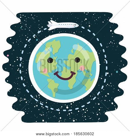 Vector cartoon funny illustration of space shuttle orbit around the Earth