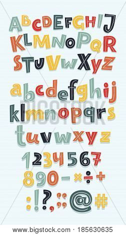 Vector cartoon fun big set of alphabet letters, numbers. Hand drawn sign: addition, multiplication, subtraction, division, dot, dash, question mark, exclamation mark, colon, quotes, hashtag, sans uppercase and lowercase