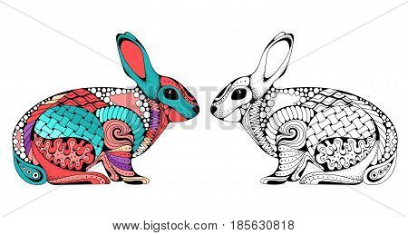 Zen tangle stylized rabbit. Hand Drawn doodle vector illustration. Sketch for tattoo animal collection. For adult anti stress coloring book pages. Colored and monochrome variations