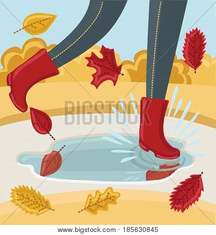 Vector illustration of legs in a pair of rubber boots. Autumn shoes. Person walking in park in the Fall