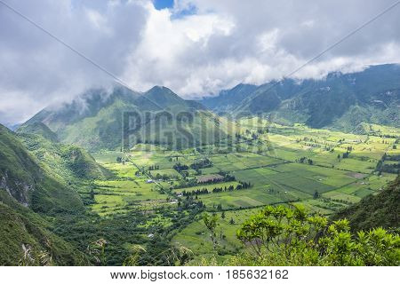 View of Pululahua Dormant Volcano North of Quito, Pichincha Province, Ecuador