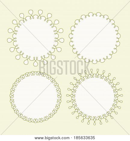 Set Of 4 Very Simple Round Frames With Fully Editable Stroke Width And Fill Color