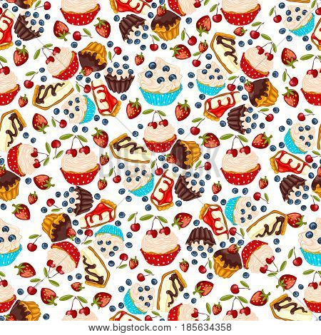 Cupcake muffin cheesecake with fresh berry seamless pattern. Sweet dessert for wrapper or textile.