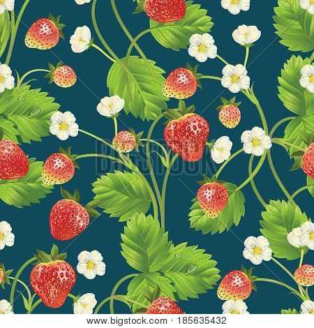 Seamless texture of Strawberry with leave, water drops and flowers. Vector realistic illustration. Design for grocery, farmers market, fabric, summer garden design element.