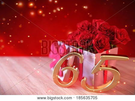 birthday concept with red roses in gift on wooden desk. 3D render - sixtyfifth birthday. 65th