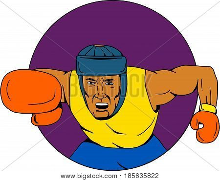 Drawing sketch style illustration of an amateur boxer wearing headgear punching viewed from front set inside circle.