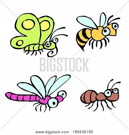 Funny cartoon insects crawling somewhere. Vector illustration. Contour freehand digital drawing cute characters. Butterfly wasp dragonfly and ant. White color background.