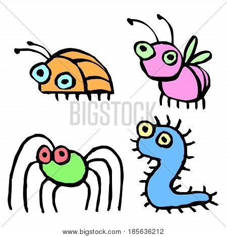 Funny cartoon insects flying and crawling. Vector illustration. Cute Characters.