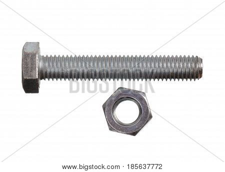 Metal bolt with nut isolated on white background