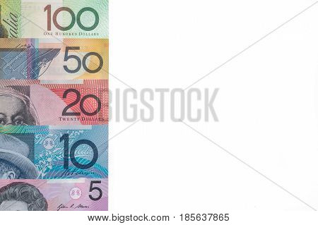 selection of Australian banknotes isolated on white background
