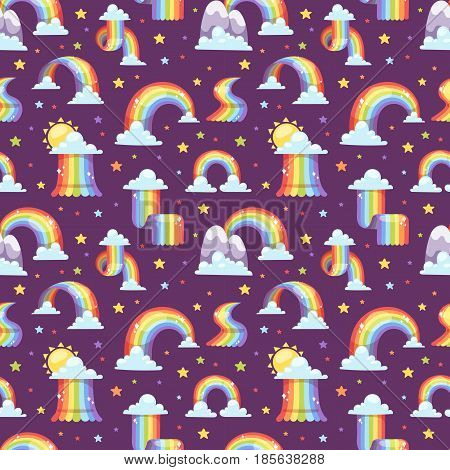 Rainbows in different shape set on transparent background isolated vector illustration. Nature sign seamless pattern spectrum, summer graphic abstract symbol. Weather curve.