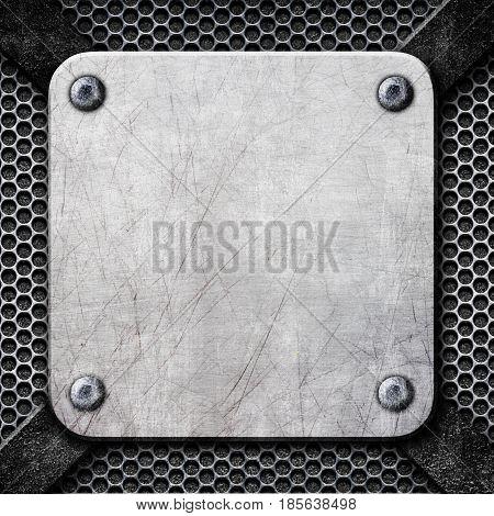 Square Steel Plate, Steel Frame As A Background For Design, 3D, Illustration