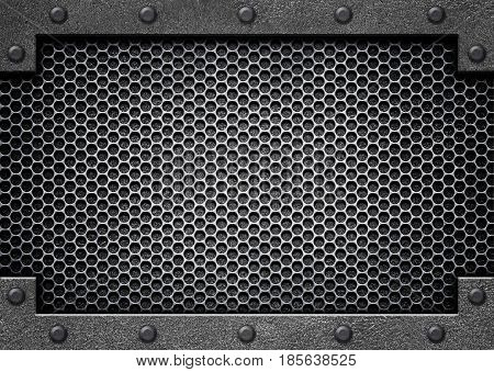 Metal Perforated Background With Shiny Stainless Steel Plate, 3D, Illustration