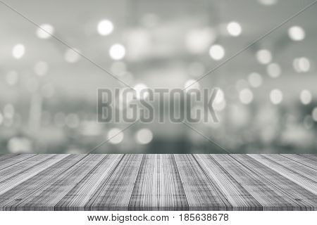 Black and white wood coordination table top on blurred background,Space available for the product