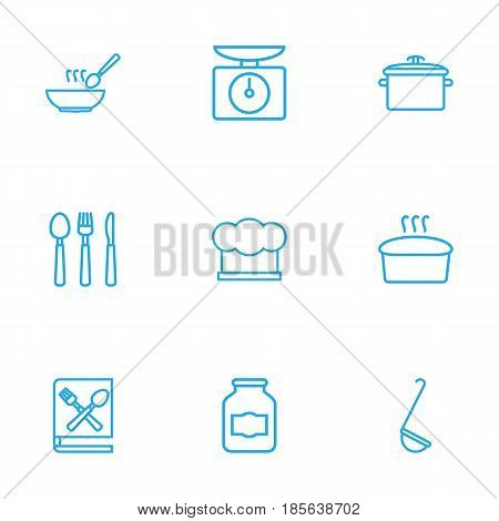 Set Of 9 Kitchen Outline Icons Set.Collection Of Book Of Recipes, Scales, Hat And Other Elements.