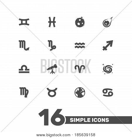 Set Of 16 Astronomy Icons Set.Collection Of Virgin, Binoculars, Fishes And Other Elements.