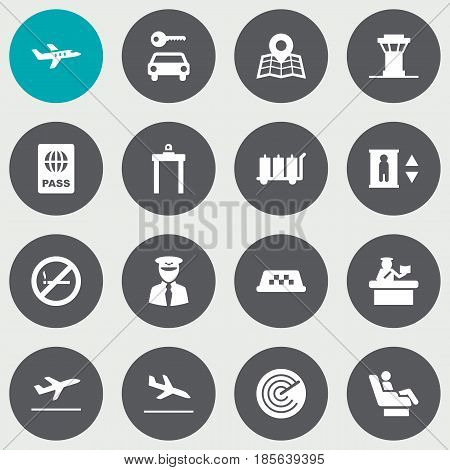 Set Of 16 Land Icons Set.Collection Of Security, Air Traffic Controller, Leaving And Other Elements.