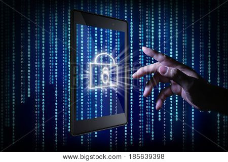 Man hand touching the phone screen with virtual lock icon appear on virtual screens online payment security and protection concept .