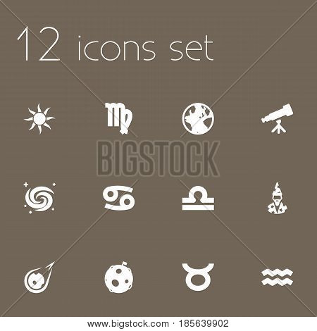 Set Of 12 Astronomy Icons Set.Collection Of Lunar, Solar, Scales And Other Elements.