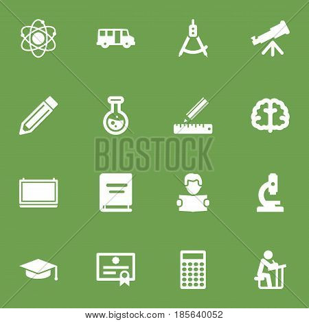 Set Of 16 Science Icons Set.Collection Of Pencil, Reading, Certificate And Other Elements.