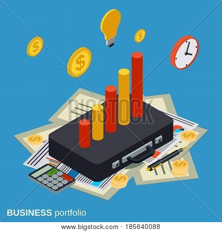 Business portfolio, financial statistics, analysis, management flat 3d isometric vector concept illustration
