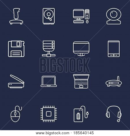 Set Of 16 Notebook Outline Icons Set.Collection Of Cpu, Server, Headphone And Other Elements.