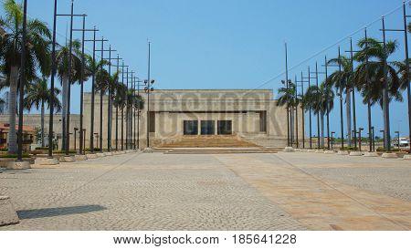 Cartagena de Indias, Bolivar / Colombia - April 10 2016: Front view of the Julio Cesar Turbay Ayala Convention Center in the city of Cartagena de Indias