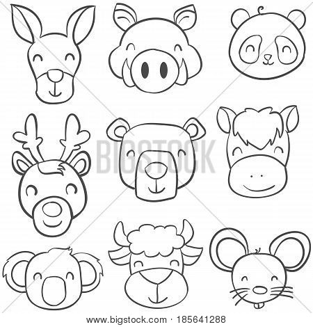 Collection stock of animal doodle style vector illustration
