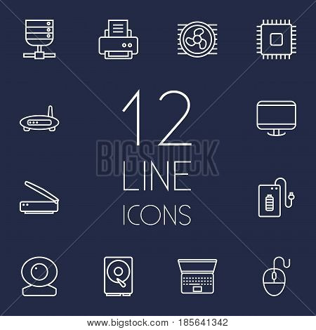 Set Of 12 Notebook Outline Icons Set.Collection Of Cooler, Printer, Laptop And Other Elements.