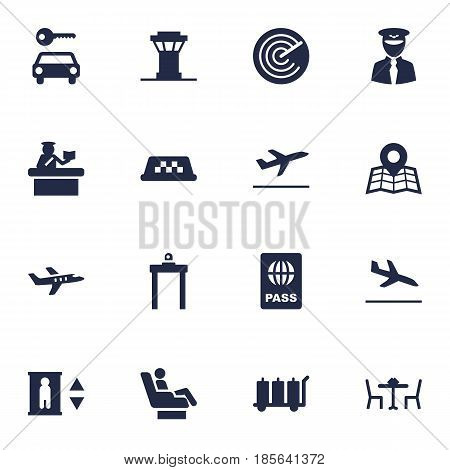 Set Of 16 Aircraft Icons Set.Collection Of Location, Restaurant, Metal Detector And Other Elements.