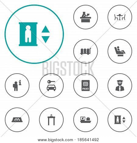 Set Of 12 Land Icons Set.Collection Of Security, Lift, Aviator And Other Elements.