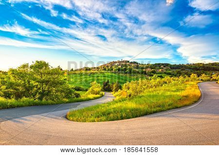 Casale Marittimo village and hairpin bend road and countryside landscape in Maremma. Pisa Tuscany Italy Europe.