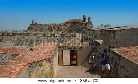 Cartagena de Indias, Bolivar / Colombia - April 10 2016: Tourists inside the Castillo San Felipe de Barajas is a fortress in the city of Cartagena. It was built by the Spanish during the colonial era