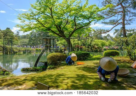 Japanese gardener near the Toro lantern in Kenrokuen a japanese garden in Kanazawa Ishikawa prefecture Japan