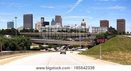 Roush hour traffic in the capital city of Atlanta