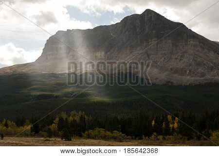 The sun breaks thru to illuminate the forest in front of a high peak