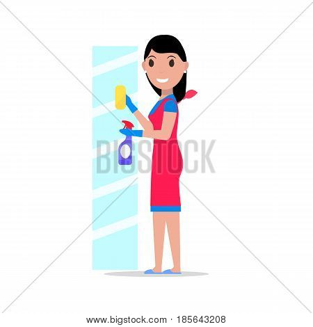 Vector illustration of a cartoon girl with a rag and detergent washes the glass. Isolated white background. Flat style. Concept of a business cleaning service.