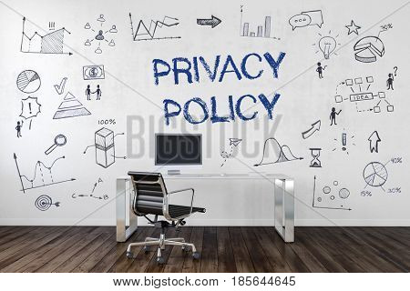 PRIVACY POLICY | Desk in an office with symbols. 3d Rendering.