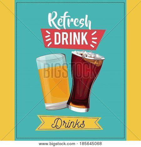 refresh drinks beer glass soda cold vector illustration