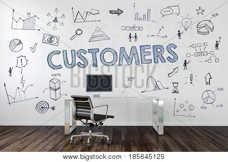 CUSTOMERS | Desk in an office with symbols. 3d Rendering.