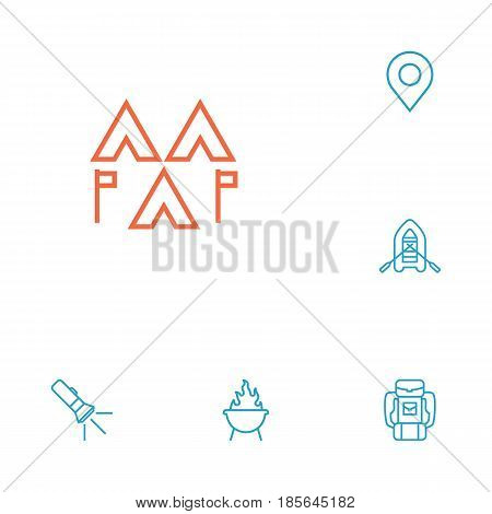 Set Of 6 Outdoor Outline Icons Set.Collection Of Pocket Torch, Grill, Encampment And Other Elements.