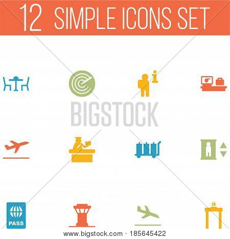 Set Of 12 Airplane Icons Set.Collection Of Data, Radiolocator, Restaurant And Other Elements.