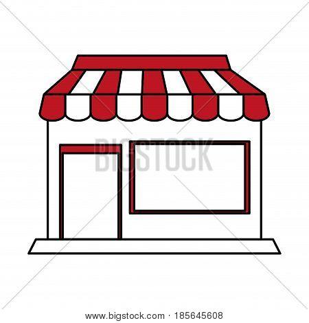 color silhouette cartoon facade shop store vector illustration