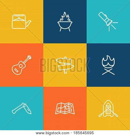 Set Of 9 Adventure Outline Icons Set.Collection Of Teapot, Penknife, Guitar And Other Elements.