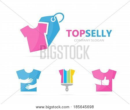 Vector of cloth and tag logo combination. Shirt and shop symbol or icon. Unique garment and label logotype design template.