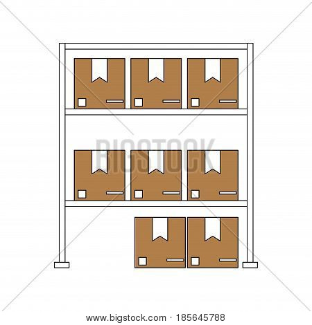 color silhouette cartoon shelf with sealed package vector illustration